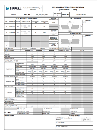 DMOS sirfull welding contrôle qualité soudage (CQ) - Assurance Qualité (AQ)